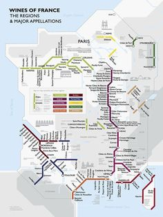 Mapa das regioes produtoras de vinho na França.