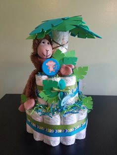 Custom jungle safari themed diaper cakes for TWINS baby shower. Bright colors and identical monkeys