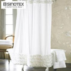 White Lace Bathroom Shower Curtain and 12 Hooks