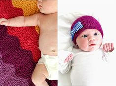 Knitted newborn hat with fabric bow Baby Hats Knitting, Free Knitting, Knitting Patterns, Knitting Needles, Knitted Blankets, Knitted Hats, Crochet Hats, Chevron Blanket, Yarn Tail
