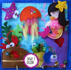 "This is an incredible quiet book PDF PATTERN, featuring the Littlest MERMAID and her magical, UNDERWATER world.  There are MULTIPLE activities on each page to entertain children.  ""Littlest Mermaid"" has 7 designs which are sewn together to make: 4 pages, 9 ½"" high x 10"" wide.  Each page is adorably and whimsically interactive:  1. The COVER- features a rock with vinyl pocket for storing the movable Littlest Mermaid Doll  2. The BEDROOM has a SHELL pocket bed with a beautiful CORAL blanket…"