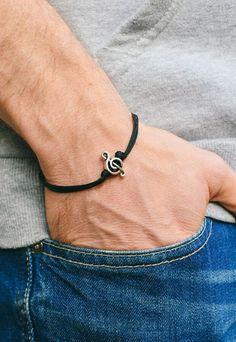 Treble clef bracelet for men, men's bracelet, silver music note charm, black cords, gift for him, musician bracelet, g clef, mens jewelry