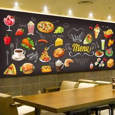 Cheap Wallpapers, Buy Directly from China Suppliers:Personalized Blackboard Graffiti Food Mural Wallpaper Cake Shop Cafe Hamburger Shop Restaurant Photo Wallpaper Wall Covering Restaurant Fast Food, Restaurant Photos, Menu Restaurant, Mural Cafe, Cafe Wall, Food Menu Design, Cafe Design, Cafe Menu, Menu Pizza