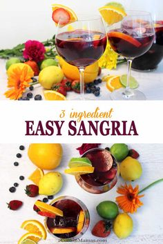 Easy Sangria - Only 3 Ingredients! - 2 Cookin' Mamas Our easy sangria has just 3 ingredients. An inexpensive wine, Sprite & sliced fruit are all that's needed to make this favorite summer cocktail. Red Sangria Recipes, Red Wine Sangria, Berry Sangria, Best Cocktail Recipes, Simple Sangria Recipe, Fall Sangria, Body Cleanse Drink, Cleanse Detox, Homemade Wine