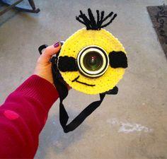 Minion Camera lens buddy.  Crochet camera critter by mandag433