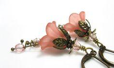 Coral Lucite Flower Earrings Czech Glass Vintage by jewelrybyNaLa, $22.50