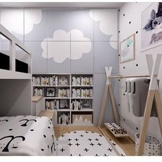 This is sooo cool! Design at its best! lovely room for children with bunk beds and closets painted with clouds. cameretta per ragazzi con letti a castello e armadio dipinto con nuvole