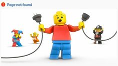 I love Lego's error (404) page features several frustrated and/or embarrassed Lego figurines.  Very appropriate for the site and it almost makes you wish for an error to see which Lego character will be featured!