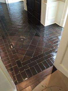 design indulgence before and after staining saltillo tile Tile Floor Diy, Ceramic Floor Tiles, Tile Floor Designs, Ceramic Flooring, Painting Tile Floors, Painted Floors, Painted Tiles, Ceramic Painting, Diy Flooring