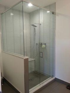 Large master shower using glass tile