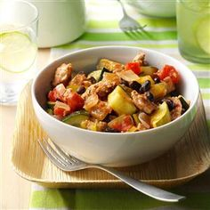 Mediterranean Turkey Skillet Recipe -I've always heard that it's important to eat a rainbow of colors to get all of the nutrients we need. Thanks to my garden-grown veggies, this dish certainly fits the bill. —Nicole Ehlert, Burlington, Wisconsin