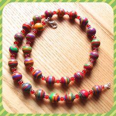 Multicolour Stripe Bead Necklace Bold Party by sweetpyroangel