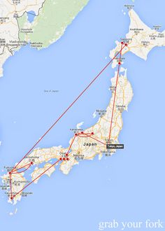 Map of our travels around Japan starting and ending in Tokyo