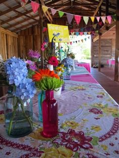 Love the colors and the vintage table cloths!