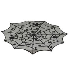 HALLOWEEN-TABLECLOTH-ROUND-BLACK-LACE-SPIDERWEB-PARTY-DECORATION-TABLE-TOP-COVER…