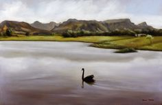 Black Swan on Dreyersdal Farm - Oil on Canvas. 755 x 500 mm. I spent most of my childhood on this farm near my parents house, doing boyhood things like fishing, bird watching, hunting and playing war games with my friends. The dam was a bird sanctuary for many waterbirds. The farm had cattle, geese, a female ostrich and a Black Swan. I thought the Black Swan on the dam was very beautiful. I sat on the bank and sketched the scene before painting it 'en plein aire'.