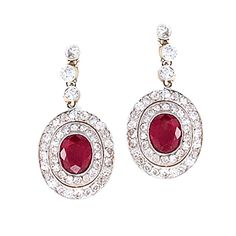 Edwardian Diamond and Ruby Earrings set in Platinum-topped Gold | 1stdibs.com