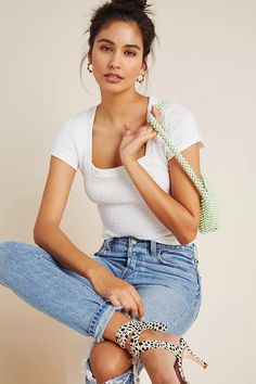 Smocked Square-Neck Top | Anthropologie Cute Casual Outfits, New Outfits, Fashion Outfits, Square Neck Top, White Tops, Anthropologie, Clothes For Women, Style, Women's Cycling