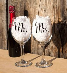Mr and Mrs wine glasses bride and groom gift mr by WholeLotOfCraft
