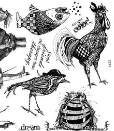 Art stamp plate Rubber stamps birds fish unmounted 1432