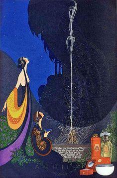 Art Nouveau Illustrations by Fred Packer for Mavis Perfume Magazine, Art Deco Posters, Vintage Posters, Vintage Art, Antique Art, Art Deco Illustration, Perfume Ad, Vintage Perfume, Art Nouveau, Art Quotidien