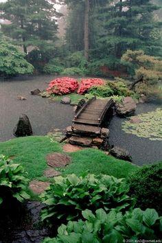 Japanese garden with island and bridge.                              …  #JapaneseGardens