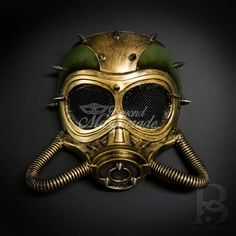 NEW Steampunk wasteland Halloween Costume Spiked Goggles Gas Mask Skull w Hoses
