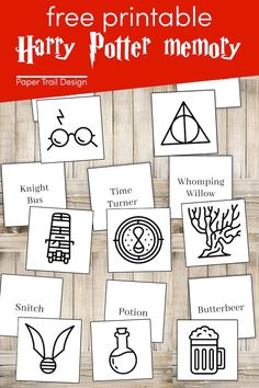 Print this Harry Potter themed memory game for free. Perfect for a Harry Potter birthday party game or just fun to have around and play. Harry Potter Craft, Harry Potter Sign, Harry Potter Journal, Harry Potter Free, Birthday Kids, Birthday Party Games, Amazing Crafts, Fun Crafts, Harry Potter Birthday Cards