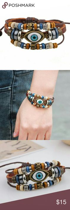 Handmade Leather Bracelet with Eye Leather Braclet with Eye Handmade  Specification: diamether 6cm   Weight: 17g   Material:cattlehide, bead, paraffined rope   Suitable for promotion gift, company gift etc Jewelry Bracelets