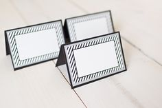 Adult Masculine Birthday Food Tents / Place Cards.  Set of 6, fully assembled party decoration.  Black / White stripe / Silver. by CharmingTouchParties on Etsy