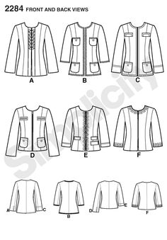 Simplicity: Chanel Style Jacket w Pocket Variations and 2 Sleeve Length Options