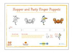 Find these Hopper and Pasty finger puppets in our Pip Ahoy! activity section on iChild.