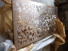 plated stainless steel laser cut screen with hair brush surface