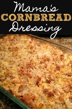 Mama's Cornbread Dressing Mama's Cornbread Dressing! A recipe for Southern cornbread dressing made with cornbread and herb stuffing for the perfect Thanksgiving side dish that everyone will love. Southern Dressing Recipe, Southern Style Cornbread Dressing, Soul Food Cornbread Dressing, Homemade Cornbread Dressing, Homemade Cornbread Stuffing, Cornbread Recipes, Cajun Recipes, Yummy Recipes, Delicious Desserts