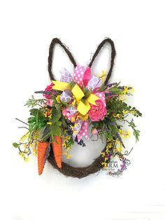Bunny Head Wreath Easter Bunny Door Hanger Easter Wreath for