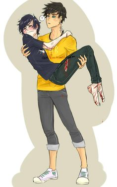 Nico Di Angelo and Percy. Omgs I love Nicos face!