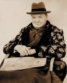 Winston Churchill in Homburg Hat & Dressing Gown