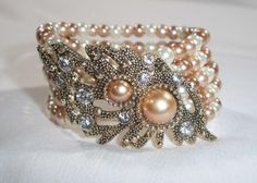 Classic Champagne & Cream 5 Row Pearl Crystal Stretch Bracelet