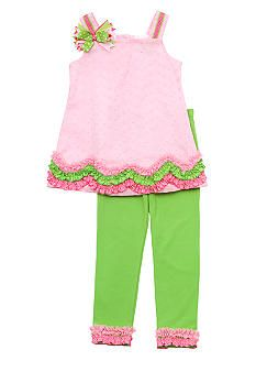 Rare Editions Pink Eyelet Capri Set Toddler Girls