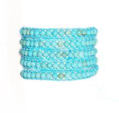 """32"""" Turquoise Leather Wrap Bracelet"""