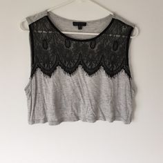 "Topshop crop top. the cutest and softest slub and lace accented crop top from Topshop.  16"" long from shoulder, approximately 19"" wide laid flat at bust.  worn a few times, like new, lace is stunning!  body 63% viscose, 29% cotton and 8% polyester.  Trim is 100% nylon.  size 6 u.s. Topshop Tops Crop Tops"