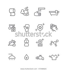 Hygiene Icons Setvector Stock Vector (Royalty Free) 573360625 Icon Set, Outline, Royalty Free Stock Photos, Image