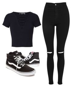 """Untitled #463"" by pandainpink ❤ liked on Polyvore featuring T By Alexander Wang, Vans and Topshop"