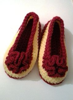 Crocheted House Slippers  Handbag Slippers  Yellow ♡ by jazzicrafts