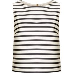 TOPSHOP Bonded Stripe Shell ($24) ❤ liked on Polyvore featuring tops, shirts, tank tops, tanks, topshop, monochrome, shell shirt, sleeveless tops, sleeveless tank and white striped shirt