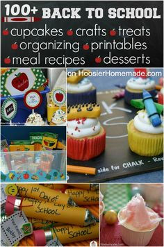 100+ Back to School Ideas: Cupcakes, Desserts, Crafts, Tips and more on HoosierHomemade.com #BacktoSchool