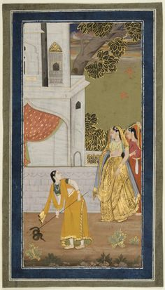 Philadelphia Museum of Art - Collections Object : Lady Watching Her Maid Kill a Snake Geography: Made in Deccan region, India, Asia Probably made in Bijapur, Karnataka, India, Asia Date: c. 1775-1800 Medium: Opaque watercolor with gold on paper.
