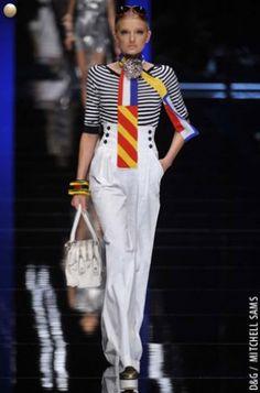 high waist nautical white trousers