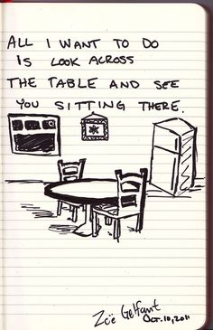 All I want to do is look across the table and see you sitting there.