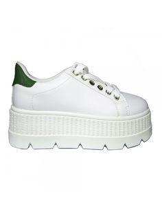 Scarpe #Donna Bianco Verde Sneakers Zeppa 3 cm In Ecopelle Suola Alta Ginnastica Sport Running 14,99€ #new #women #sneakers #shoes #white #green #cool ...